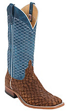 Anderson Bean Men's Tan Loch Ness w/ Blue Lava Diamond Double Welt Square Toe Western Boot