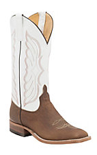 Anderson Bean Men's Distressed Buff Bison w/ White Kidskin Top Double Welt Square Toe Western Boots