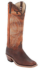 Anderson Bean® Men's Brown w/ Tall Orange Top Double Welt Square Toe Western Boots