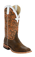 Anderson Bean® Men's Chocolate w/Orange Acid Wash Top Square Toe Western Boots