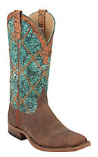 Anderson Bean Men's Brown w/ Turquoise Wash Double Welt Square Toe Western Boot