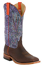 Anderson Bean® Men's Brown w/ Purple Acid Wash Double Welt Square Toe Western Boots