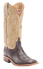 Anderson Bean Men's Chocolate w/ Distressed Tan Top Double Welt Square Toe Western Boots