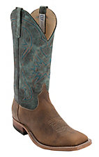 Anderson Bean® Mens Desert Bison w/ Aqua Monet Square Toe Western Boot