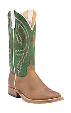 Anderson Bean Men's Rust Burnished Crazyhorse w/ Emerald Explosion Top Double Welt Square Toe Western Boots