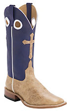 Anderson Bean® Horse Power™ Mens Tan Bison Antique w/Cross Purple Top Double Welt Square Toe Western Boots