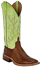 Anderson Bean® Horse Power™ Mens Brown Ostrich Print w/ Green Tops Square Toe Boot