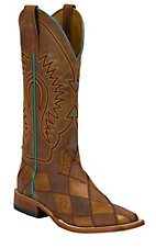 Anderson Bean® Ladie's Brown & Tan Crazy Train Patchwork Square Toe Western Boots