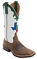 Anderson Bean® Women's Toast Bison Brown w/ Texas 4-H Logo on White Top Green Trim Double Welt Square Toe Western Boots