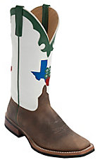 Anderson Bean® Men's Toast Bison Brown w/ Texas 4-H Logo on White Top Green Trim Double Welt Square Toe Western Boots