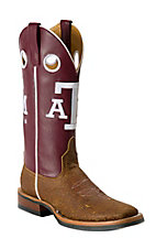 Anderson Bean® Ladies Tan Mohawk Brown w/Maroon Top A&M Square Toe Collegiate Boot
