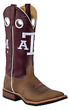 Anderson Bean® Mens Tan Mohawk Brown w/ Maroon Top A&M Square Toe Collegiate Boots