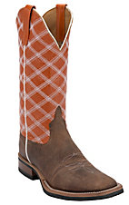 Anderson Bean® Horse Power™ Men's Toast Bison w/ Burnt Orange Double Welt Square Toe Western Boot