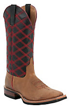 Anderson Bean Horse Power Mens Honey w/ Black & Red Raider Crazy Stitch Square Toe Boots