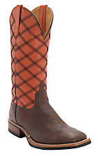 Anderson Bean® Horse Power™ Mens Chocolate Oiled Shoulder w/ Tangerine Square Toe Boots