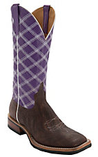 Anderson Bean® Horse Power™ Mens Chocolate Shoulder w/ Purple Top & Diamond Stitch Square Toe Boots