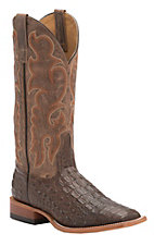 Anderson Bean Horse Power Men's Chocolate Croc Print w/ Brown Mad Dog Top Square Toe Western Boots