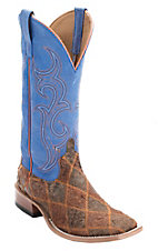 Anderson Bean Horse Power Men's Tan & Brown Zombie Patchwork w/ Blue Top Square Toe Western Boots