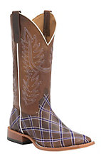 Anderson Bean Horse Power Men's Chocolate Goat with Purple Zigzag Patchwork Square Toe Western Boots