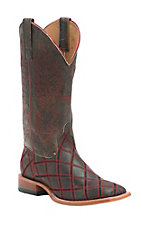 Anderson Bean Horse Power Men's Tan Bombardier with Red Raider Zig Zag Square Toe Western Boots