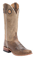 Anderson Bean® Horse Power™ Mens Tan Pit Bull Steer w/ Natural Sinsation Top Punchy Square Toe Boots