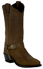 Sage® Ladies Distressed Brown w/ Wingtip & Concho Bracelet Western Snip Toe Boots