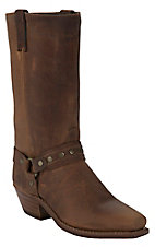Sage® Men's Distressed Tan Western Studded Harness Square Toe Boots