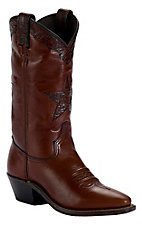 Abilene® Ladies Cognac Brown Tooled Star Snip Toe Western Boots