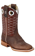 Anderson Bean® Kids Toast Brown Bison with Copper Diamond Stiched Square Toe Boots