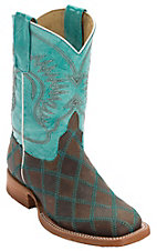 Anderson Bean® Kids Light Brown & Dark Brown Patchwork Square Toe Western Boots