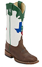 Anderson Bean® Kid's Toast Bison Brown w/ Texas 4-H Logo on White Top Green Trim Double Welt Square Toe Western Boots