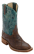 Anderson Bean® Kid's Brown Angry Bird Ostrich Print Patchwork w/ Turquoise Top Square Toe Western Boots