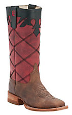 Anderson Bean® Kids Toast Bison w/ Rockin' Red Stove Pipe Top Square Toe Boots