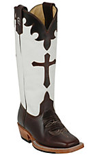 Anderson Bean® Kid's Chocolate Brown Cow w/Cross White Top Square Toe Western Boot