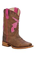 Anderson Bean® Kid's Brown Toasted Bison w/ Pink Crossed Pistols Square Toe Boots