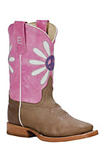 Anderson Bean® Kids Bone Tan w/ Pink & Purple Peace Daisy Square Toe Western Boots