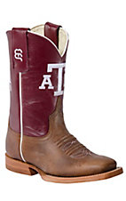 Anderson Bean® Kid's Brown w/ Maroon Top A&M Double Welt Square Toe Western Boots