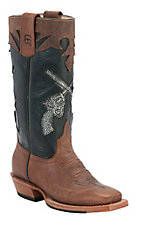 Anderson Bean® Kids Toast Brown Bison w/ Pistols on Black Top Square Toe Boots