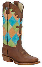 Anderson Bean® Kids Honey Brown w/ Bright Patchwork Top Square Toe Boot