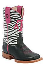 Anderson Bean® Kid's Black w/ Zebra Top Pink A&M Stitch Square Toe Western Boots