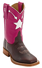 Anderson Bean® Kids Briar Oil Tan w/ Flashy Pink w/ White Arrow & Stars Inlay Top Square Toe Western Boots