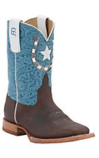 Anderson Bean® Kids Briar Oil Tan w/ Handkerchief Blue Top Square Toe Western Boots