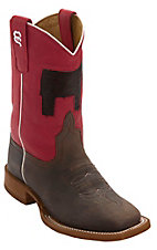 Anderson Bean® Kid's Chocolate Oil w/ Red & Inlay Cowhide Steer Top Square Toe Western Boots