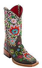 Anderson Bean® Kid's Chocolate Vintage w/ Snow Leopard & Multicolor Floral Embroidery Square Toe Boots