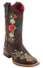 Anderson Bean® Kid's Vintage Brown w/ Striking Multicolored Floral Embroidery Square Toe Western Boots
