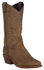 Abilene Womens Olive Brown Vintage Punchy Toe Western Boots