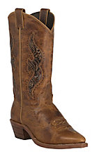 Abilene Ladies Distressed Tan w/Brown Tooled Inlay Snip Toe Western Boots