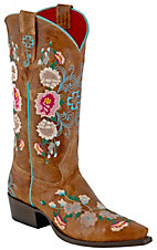 Anderson Bean® Macie Bean™ Ladies Brown Mad Cat Floral Embroidered Snip Toe Boots