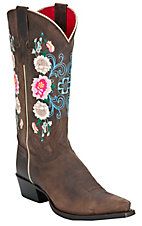 Anderson Bean® Macie Bean™ Ladies Dark Brown Floral Embroidered Snip Toe Boots