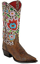 Anderson Bean® Macie Bean™ Ladies Distressed Brown Cheetah Floral Snip Toe Boots